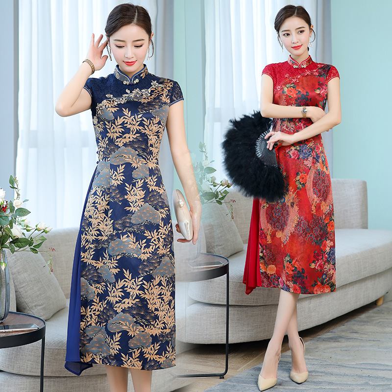 Traditional Print Cheongsam Style Vietnam Ao Dai Party Dresses