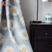 Pastoral Gray Sunflower Blackout Curtains For Living Room American Style Floral Curtain Window Treatments Rideaux Salon