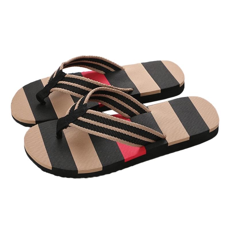 New Summer Men Beach Flip Flops Summer Striped Slippers Outdoor Casual Sandals Thong Shoes цена