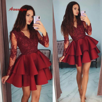 Burgundy Short Homecoming Dresses Plus Size Mini Semi Long Sleeve Formal Graduation Cocktail Prom Party Dresses