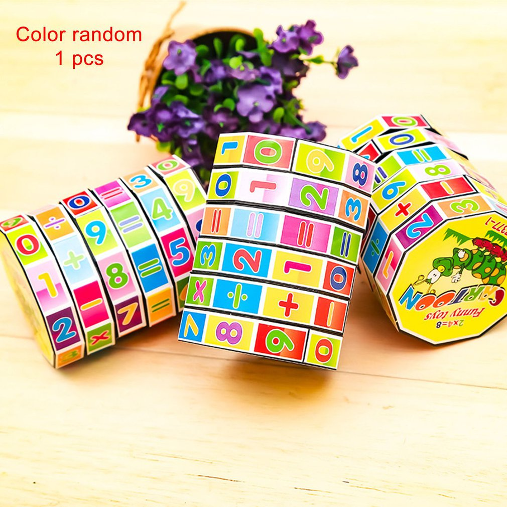 Children Arithmetic Toys Cylindrical V-cube 6 Numbers Magic Cube Toys Puzzle Game Gift to Help Children Learning Math