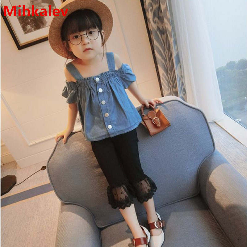 Mihkalev Fashion off shoulder kids clothes girls summer 2018 clothes baby girl denim tshirt for children short sleeve tops