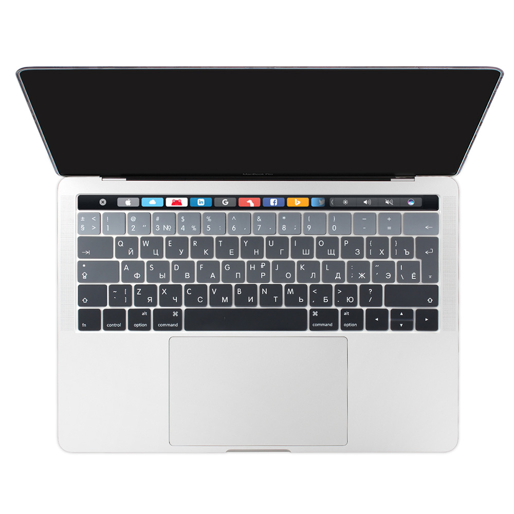 For Macbook 2019 Pro 13 15 Touch Bar Keyboard Cover Sticker EU Russian Cyrillic Spanish French English Skin Gradient Color