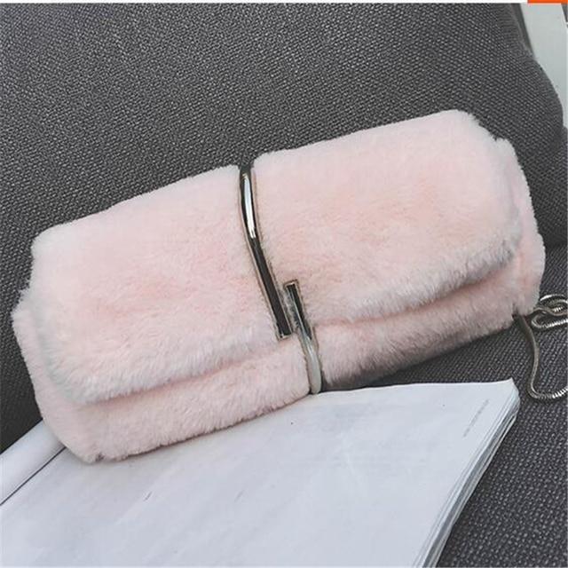На зимнем меху Сумки для леди женские Модные мешок цепи клапаном высокое качество сумка женская Курьерские сумки Ежедневные клатчи