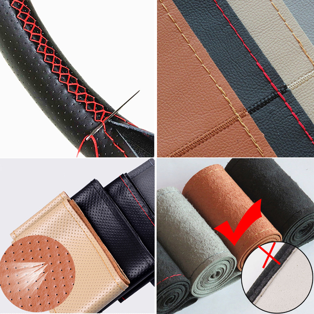 38cm Hand Sewing Car Steering Wheel Cover Artificial Leather Braid On The Steering-wheel With Needle And Thread Auto Accessories