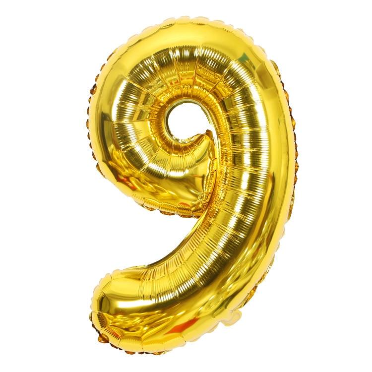 Золотой Серебряный 32 дюйма 0-9 большой гелиевый цифровой воздушный шар фольги Детский праздник день рождения вечеринка для детей мультфильм шляпа игрушки - Цвет: gold 9
