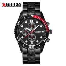 Vogue CURREN 8028 Elegante Reloj de Acero Para Hombre Relojes de Pulsera de Cuarzo con Escalas Point/Ronda Dial-Negro