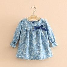 New Korean Floral Spring Bow Girls Children Denim Blue Long-sleeved Baby doll Collar Cute Baby Kids Sweet Casual Cotton Shirt