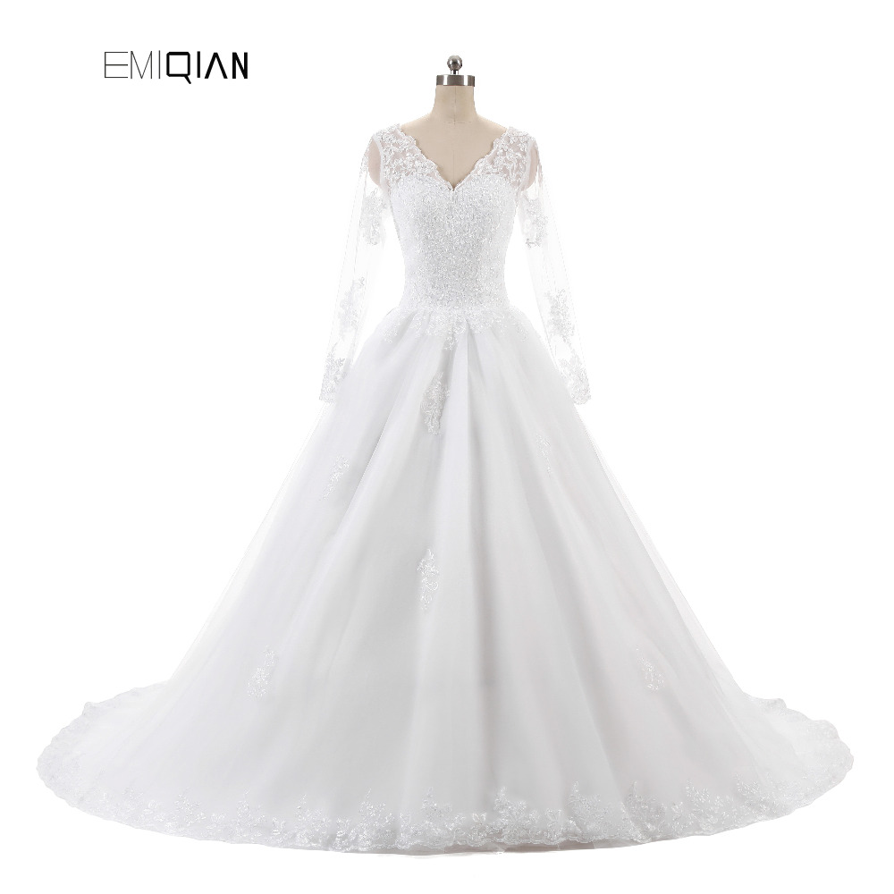 Vestido De Noiva Lace Bridal Gown Cheap A Line V Neck Long Sleeves Zipper Back Tulle Bridal Wedding Dress