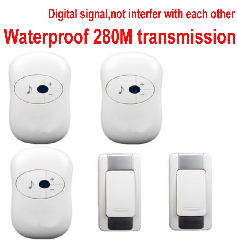 2 emitter+3 receivers doorbell Waterproof 280m work wireless doorbell,wireless door chime,wireless bell, 36 melodies door bell 2 receivers 60 buzzers wireless restaurant buzzer caller table call calling button waiter pager system