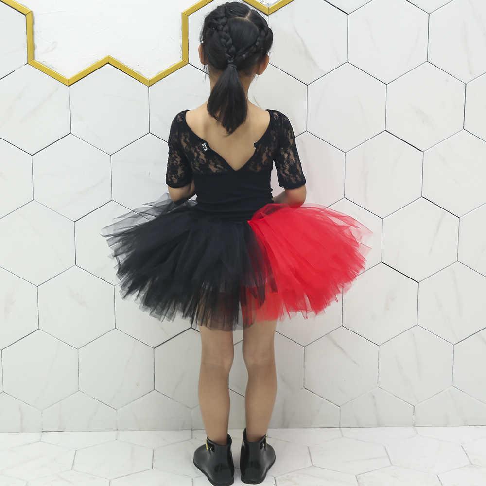 e3e358706 Falda tutú roja negra para niñas tul mullido faldas para niñas Harley Quinn  Cosplay disfraces de Halloween fiesta de baile tutú para niños 1-14