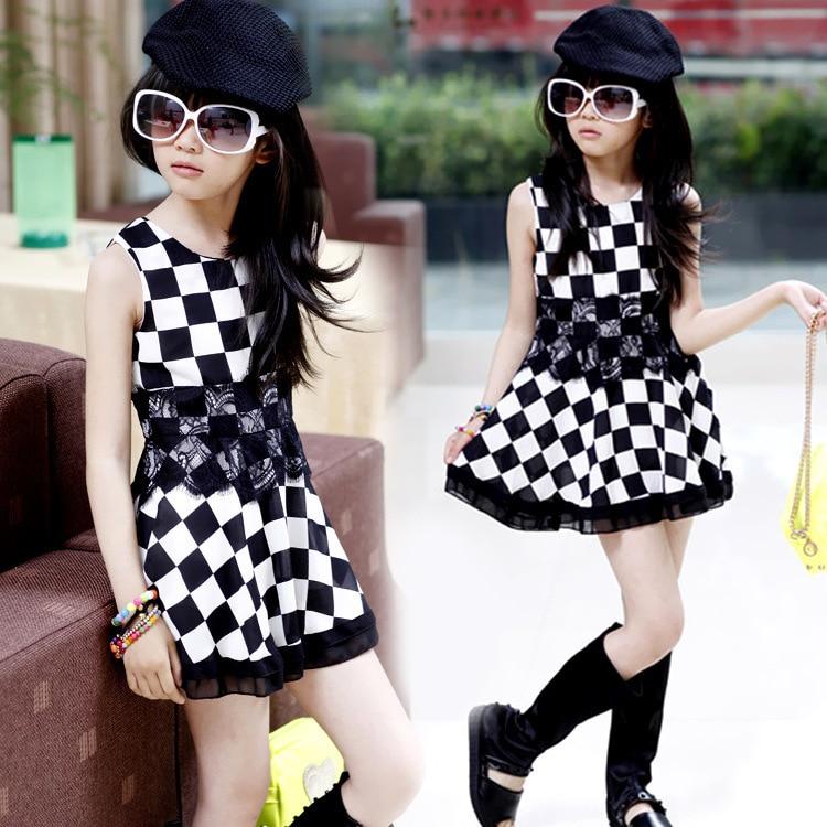 Pydownlake New Spring/summer Stocklot Fashion Elegant Sleeveless Short Black White Grid Kids Lace Princess Girls Dresses