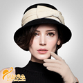 2016 women bowknot hat autumn and winter fashion wool hat lady women church hats fleece British small hat  B-0780