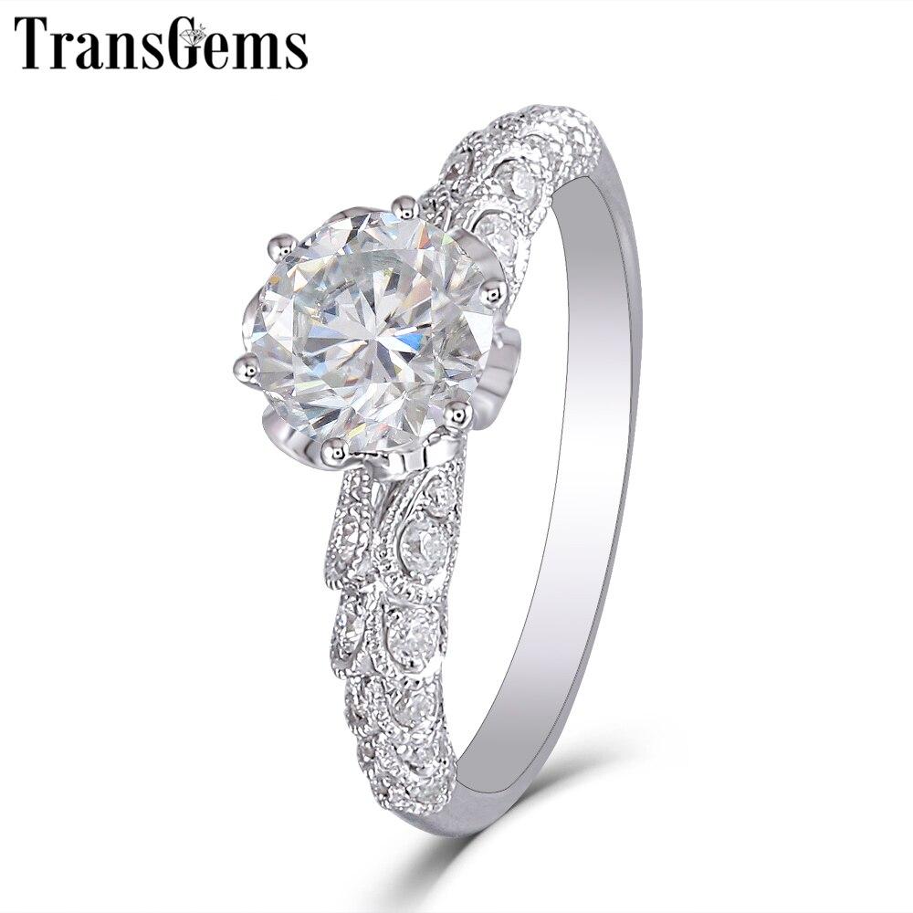 Transgems nuevo Anillo de Moissanite hecho a mano para mujeres Centro 1ct 6,5 MM F Color Moissanite diamante 14 K 585 blanco anillo de oro