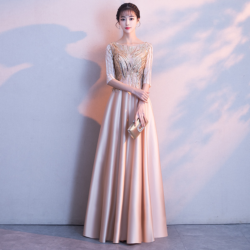 Champagne Full Length Dress Elegant Glitter Party Maxi Dresses Celebrity Banquet Princess Dressing Shining Bodycon Robe Gowns