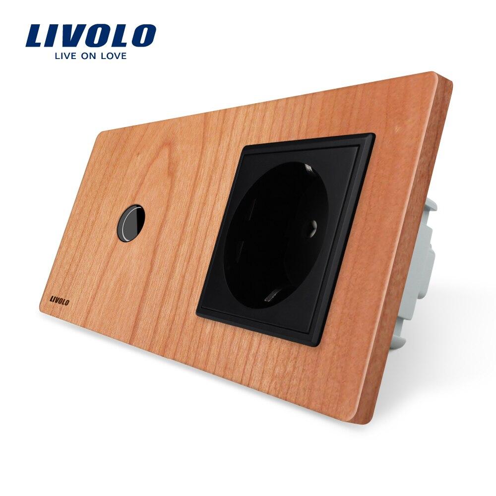 Livolo Tactile standard de L'UE Switch, cerise Panneau De Bois, 220 ~ 250 V 16A Prise Murale avec Interrupteur de Lumière, VL-C701-21/VL-C7C1EU-21