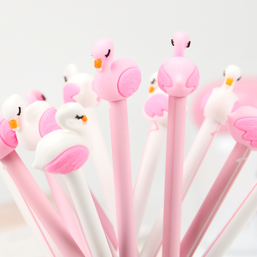 2PCS Sweet Pink Flamingo Gel Pen Writing Signing Pen Stationery Kids Student School Office Supply 0.5mm