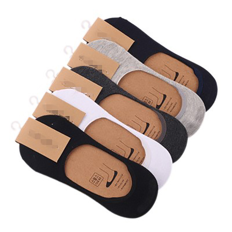 1 Pair New Cotton Men Invisible Socks Men Socks Silicone Anti - Skid, Pure Color Summer Socks