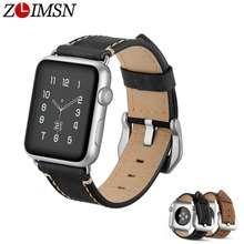 ZLIMSN Special Crazy Horse Leather Strap pin buckle 42mm 38mm For Apple Watch Accessories Suitable Men and Women