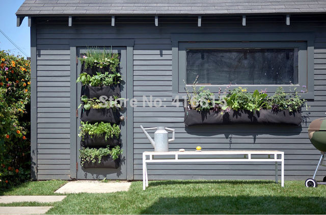 black garden wall. 4 pockets vertical garden wall-mounted polyester living indoor wall planter hanging grow bags bag black i
