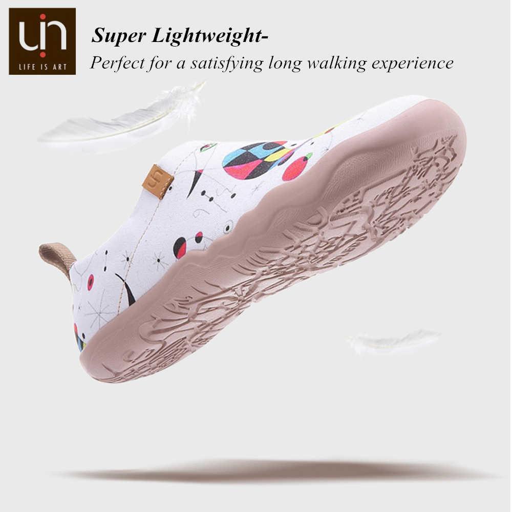UIN Kunst Hand bemalt Frauen Müßiggänger Breite Füße Weiß Leinwand Schuhe Damen Wanderschuhe Leichte Runde Kappe Komfort Schuhe