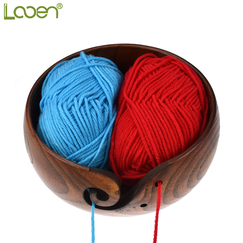Looen Brand New Empty Wooden Yarn Bowl Holder Knitting Bowl With Holes Storage Crochet Yarn Holder Bowl Perfect For Mother's Day