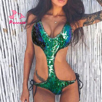 Pacento Gradient Shiny Sequins Swimsuit One Piece Bathing Suits Women Green Silver 2017 Monokini Large Size Swimwear Plavky Damy