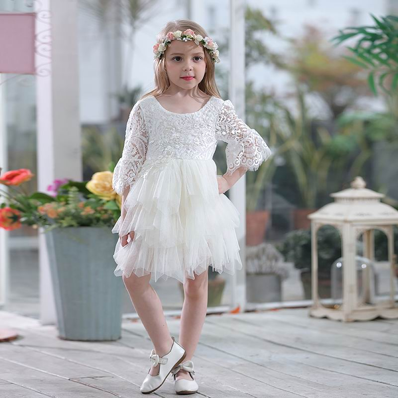 Wholesale Lace Dress for Girls Gauze Princess 3 4 Sleeve Party Dress Layered Dress Children Clothing