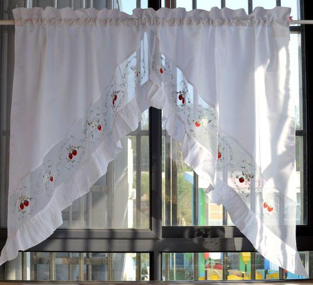 Erdbeeren bestickte dekorative vorhänge kurz küche vorhang weiß swag ...