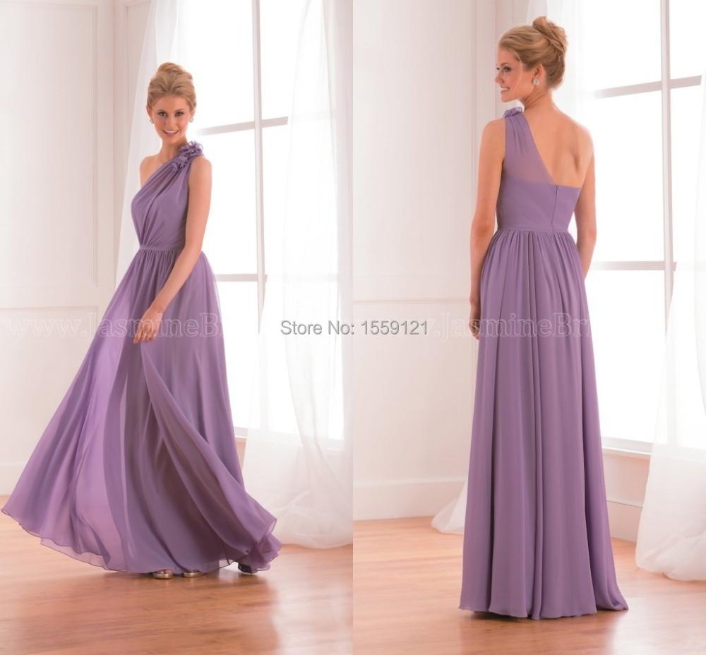 Custom Made Long Purple One Shoulder Bridesmaid Dress 2017