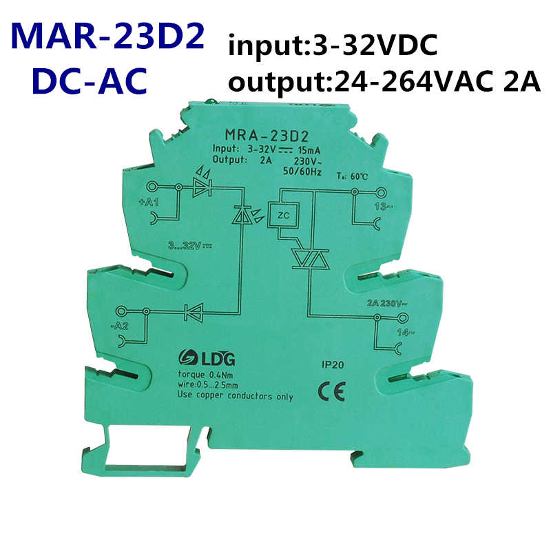 Detail Feedback Questions About MRA 23D2 1pc New Mini 2A Input 3V 5V 12V 24V DC SSR Relay Ultra Thin Interface Module With DIN Rail Installation On