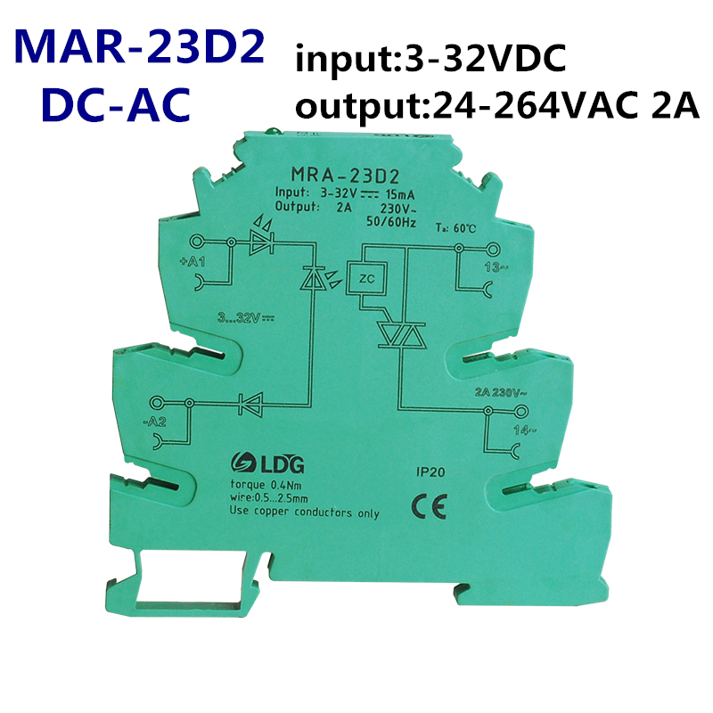 MRA-23D2 1pc New Mini 2A input: 3V 5V 12V 24V DC SSR Relay Ultra Thin Interface Relay Module With DIN Rail Installation
