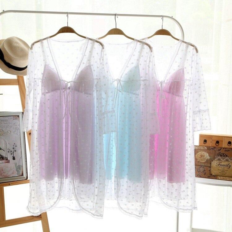 Two 2 Pieces Sleepwear Women Lace Robe Gown Set Summer Silk Robe Female Sexy Silk Nighties
