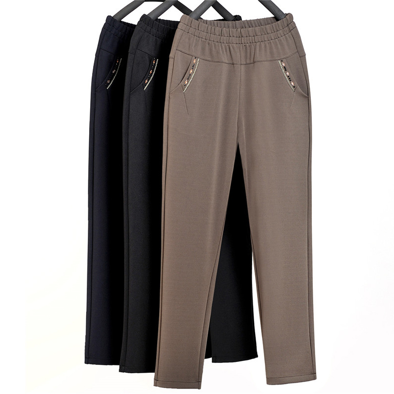 Spring Autumn New   Pants   Women Elastic waist Plus size Plus velvet   Pants     Capris   Khaki Women's High waist Casual Trousers 5XL F446