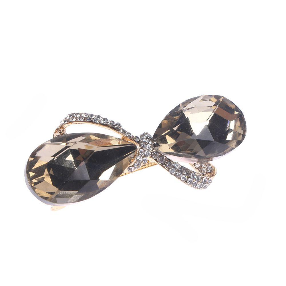 1PC New Fashion Crystal Rhinestone Oval Bowknot Barrettes Hair Clip Clamp Hairpin Headwear Accessories Girl Friend Wife Sisters