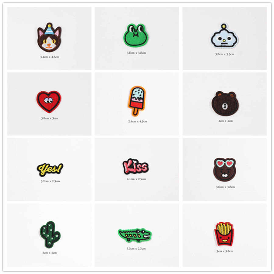 Cute Small Cartoon Patches Cap Shoe Iron On Embroidered Appliques DIY Apparel Accessories Patch For Clothing Fabric Badges BU165