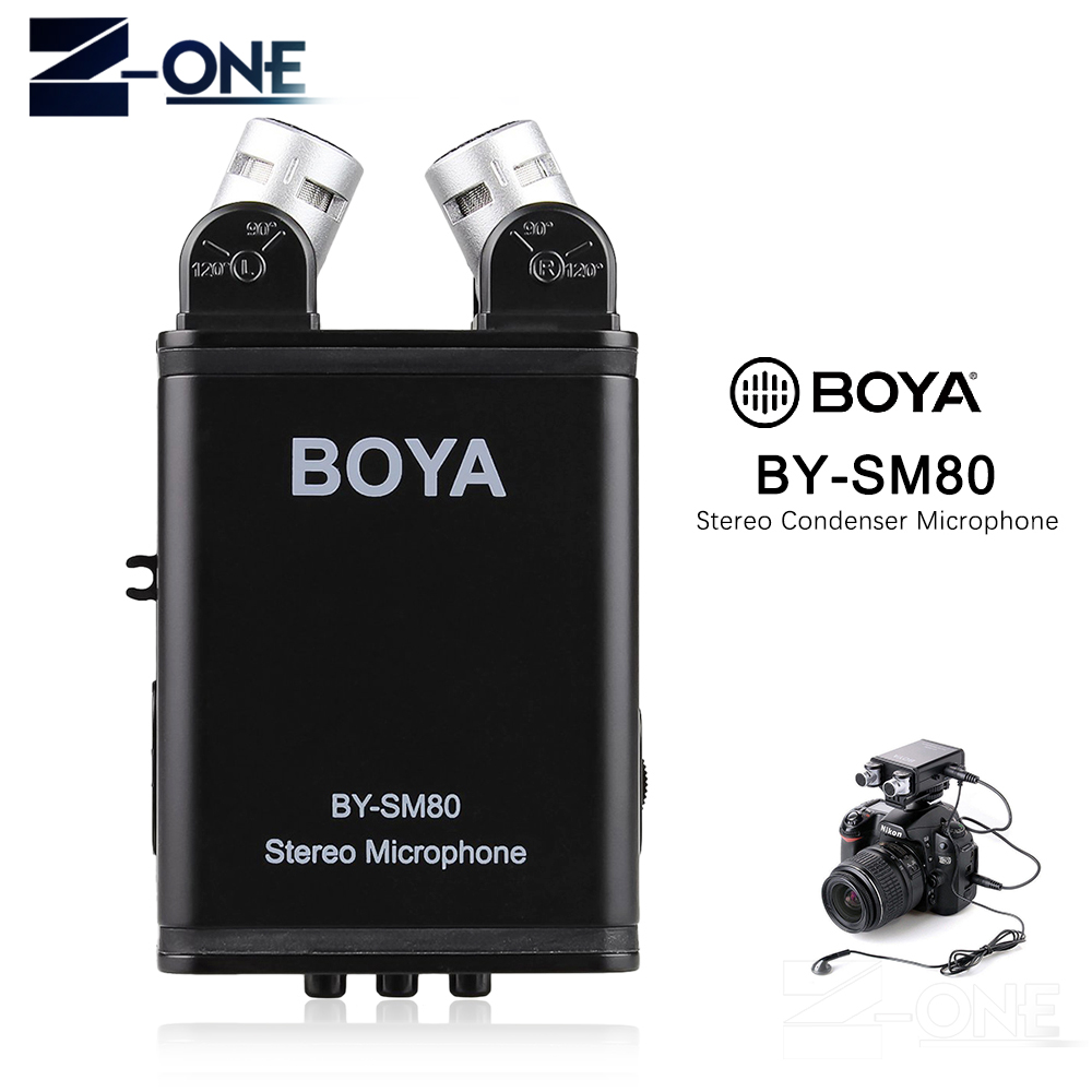 BOYA BY-SM80 Bi-directional Stereo Video Microphone with Windshield for Canon Nikon Pentax DSLR Camera Camcorder boya by sm80 stereo video microphone with windshield for canon for nikon for sony dslr camera microphone camcorder