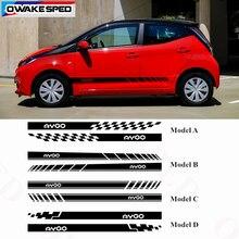 Гоночные спортивные полосы, наклейки для боковой двери автомобиля, юбки для Toyota AYGO-, автомобильные аксессуары для тела, водонепроницаемые наклейки