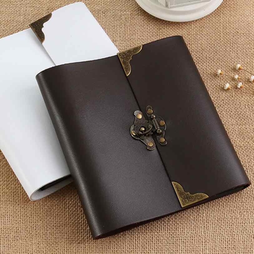5/10/12 Inch Literary DIY retro leather photo album Paste handmade baby couple album Polaroid album with Sticker Gift Black Page