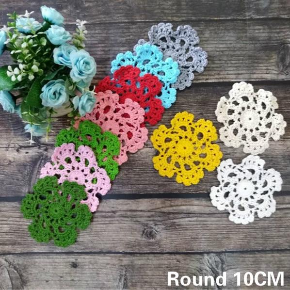 10cm Round Colorful Snowflake Cotton Placemat Handmade Crochet