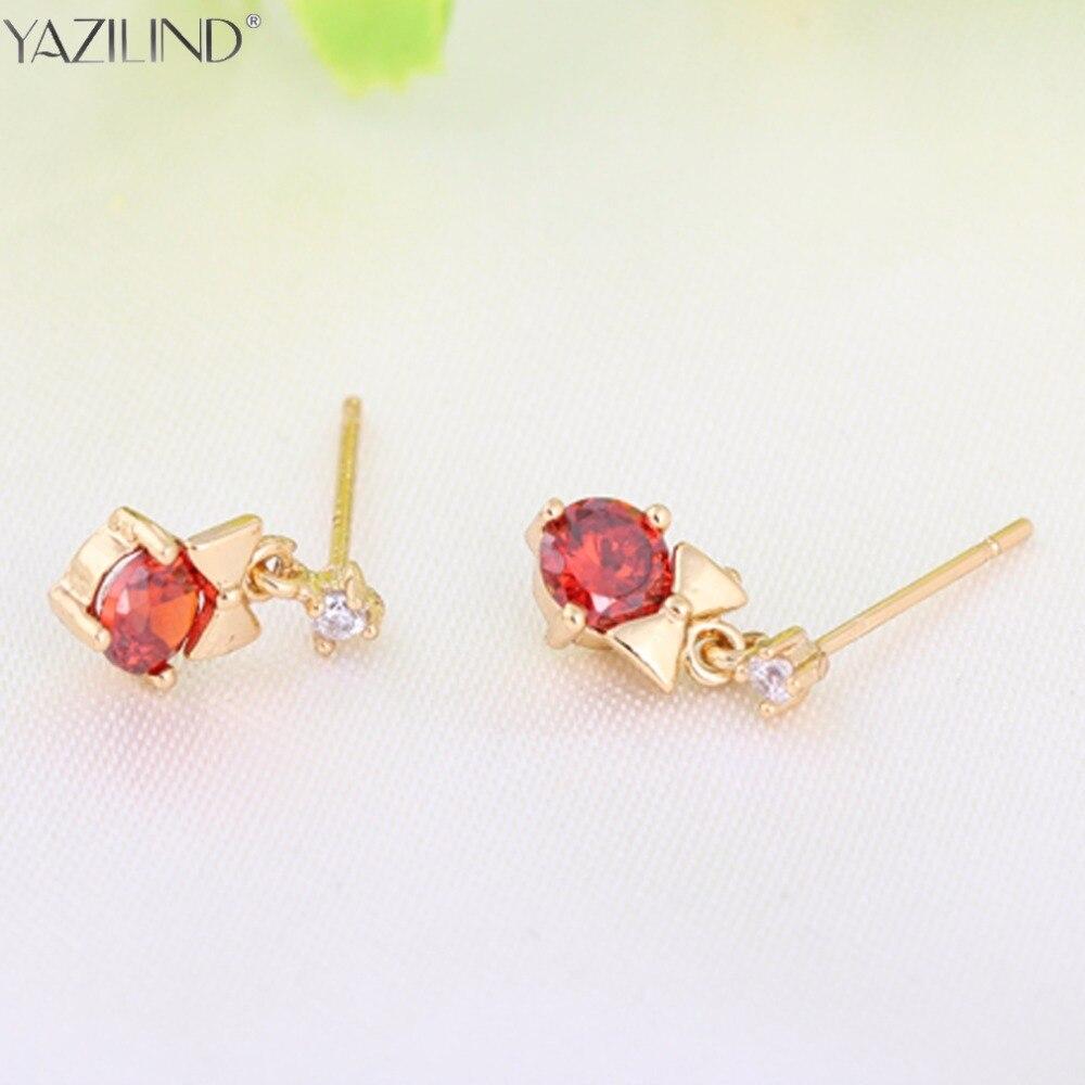 Er 2017 Cute Gold Small Heart Earrings Little Girls Red Crystal Stone  Earring Korean Jewelry Brands