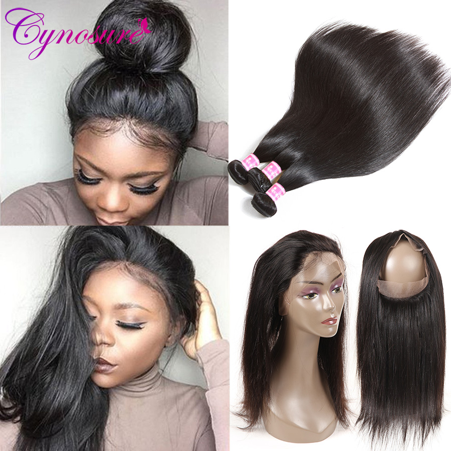 Cynosure Pre Plucked 360 Lace Frontal with Bundle Natural Color Brazilian Straight Human Hair 3 Bundles with Closure Non-remy
