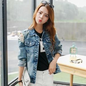 Image 3 - Rugod 2018 vintage engraçado imprimir jean jaqueta feminina rasgado buraco manga longa bombardeiro jaquetas casual primavera outono curto denim jaqueta