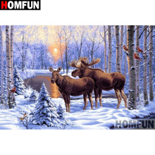 HOMFUN Full Square/Round Drill 5D DIY Diamond Painting Deer snow scene Embroidery Cross Stitch Home Decor Gift A18126
