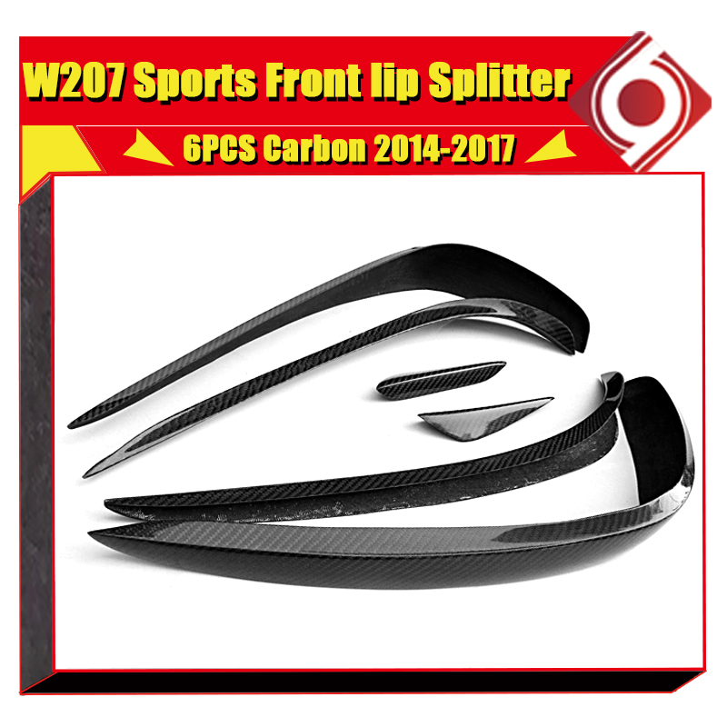 W207 2 door Front Lip Splitters Wing Spoiler Carbon 6 pcs For Benz E Class E200 E400 E350 E500 E550 Front Bumper Splitter 14 17 in Bumpers from Automobiles Motorcycles