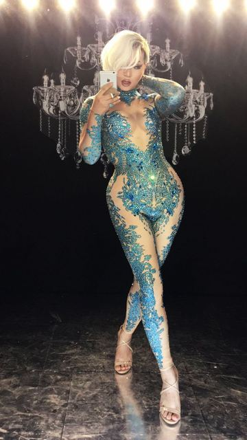 New guest female singer show blue full blue rhinestones sexy show tight jumpsuit female gogo costume party celebration birthday