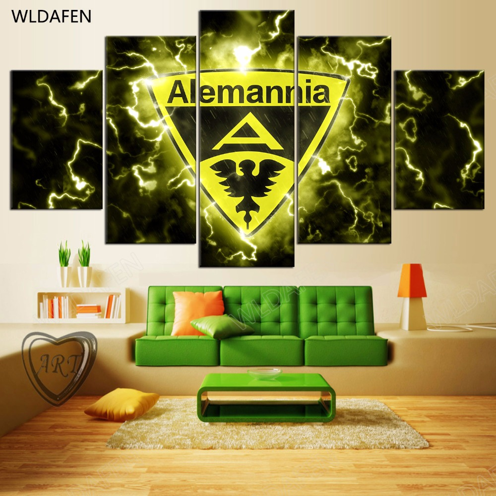 5 Pieces Sports Team Deco Fans Posters Oil Painting On Canvas Modern Home Pictures Prints Decor Living Room PH4-1884
