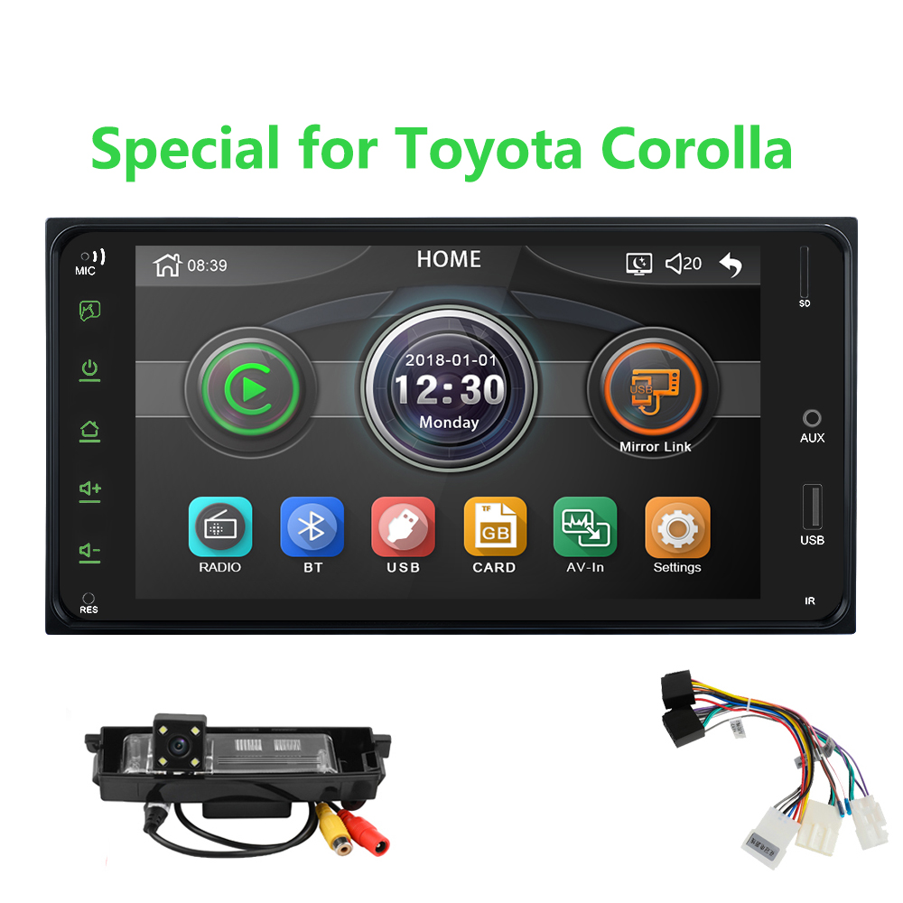 Universal Car Multimedia player 2 din car <font><b>radio</b></font> 7 Inch mirror link Andorid 8 Bluetooth/USB/rearview camera For <font><b>Toyota</b></font> <font><b>Corolla</b></font> image