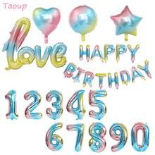 Taoup 32 인치 해피 어린이 생일 풍선 호일 그라디언트 레인보우 번호 Ballons 편지 Balon 헬륨 Baloes 웨딩 풍선