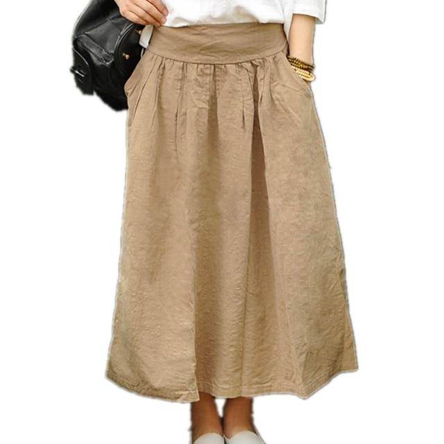 0f24b15fcc05 Mori Maxi Skirt High Quality Cotton Linen Pleated Skirt Basic Solid Green  Blue Khaki White Pocket Long Maxi Skirts For Women